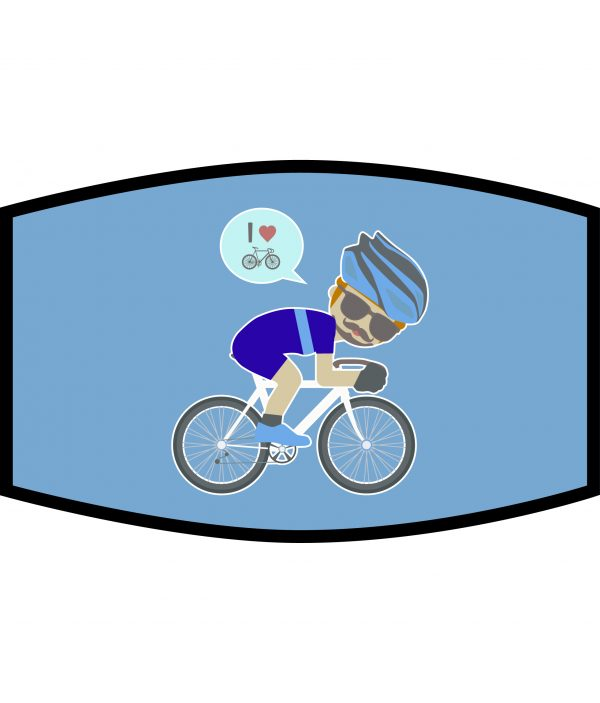 Face Mask - 3 Layer - Cycling Dude - Blue