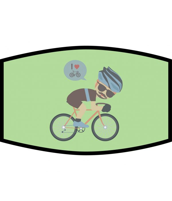 Face Mask - 3 Layer - Cycling Dude - Green