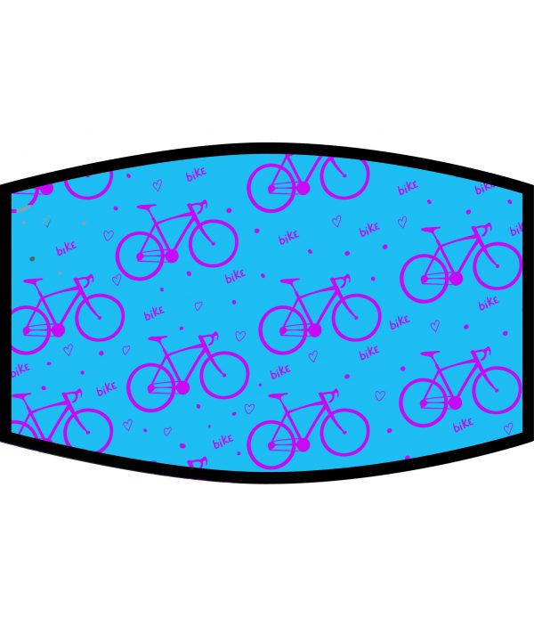Face Mask - 3 Layer - Love Cycling Pattern - Blue