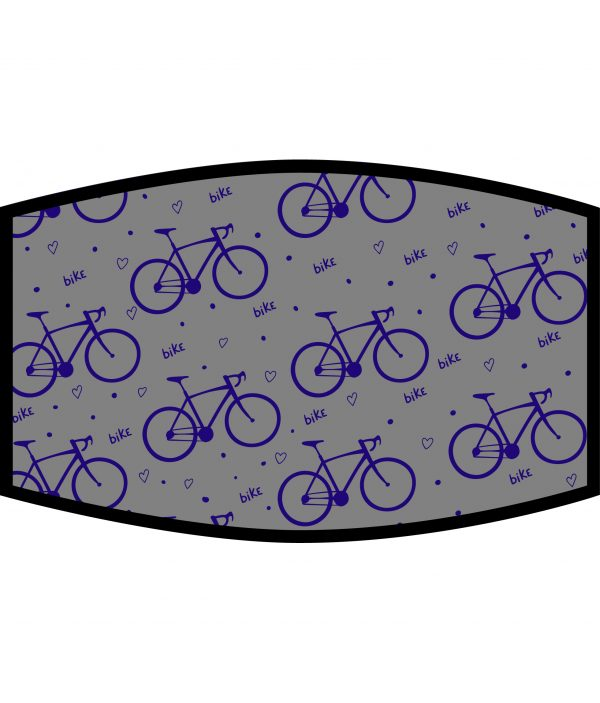 Face Mask - 3 Layer - Love Cycling Pattern - Grey