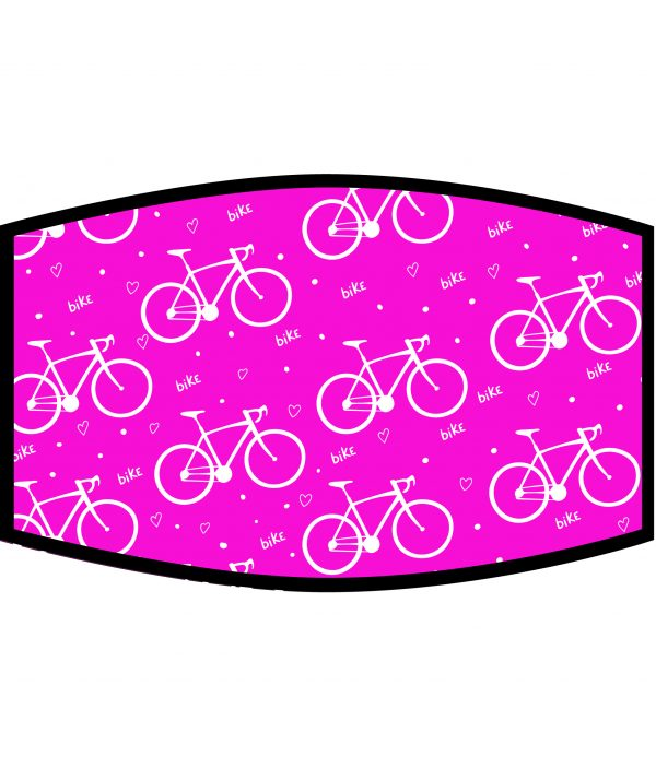 Face Mask - 3 Layer - Love Cycling Pattern - Pink