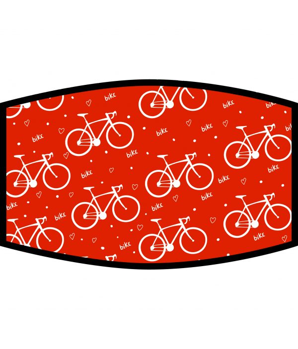 Face Mask - 3 Layer - Love Cycling Pattern - Red