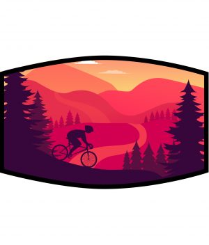 Face Mask - 3 Layer - Cycling Mountain Landscape