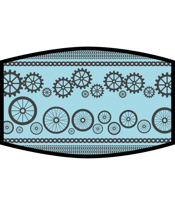 Face Mask - 3 Layer - Cycling Wheels and Gears - Blue