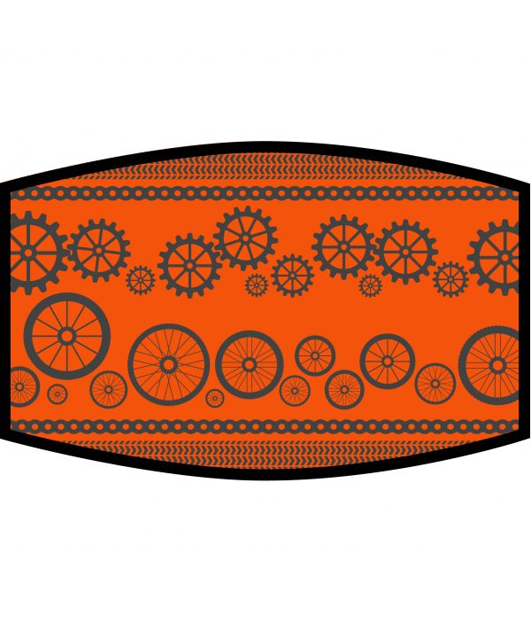 Face Mask - 3 Layer - Cycling Wheels and Gears - Orange