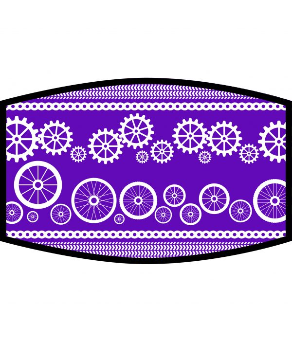 Face Mask - 3 Layer - Cycling Wheels and Gears - Purple