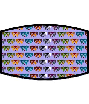 Face Mask - 3 Layer - Dog Face Pattern - Violet