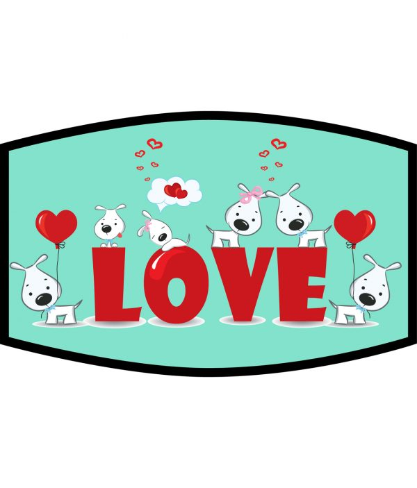 Face Mask - 3 Layer - Dog Love and Hearts - Green