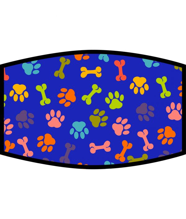 Face Mask - 3 Layer - Dog Paws and Bones Pattern - Blue