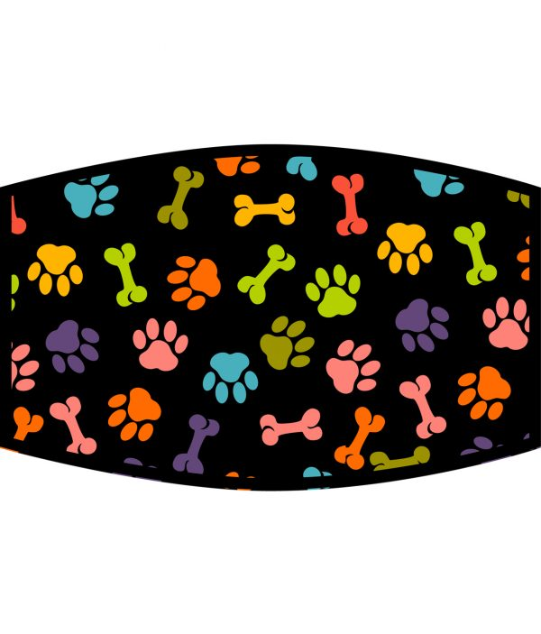 Face Mask - 3 Layer - Dog Paws and Bones Pattern - Black