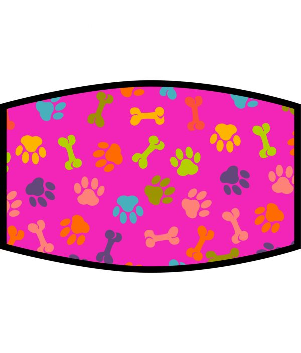 Face Mask - 3 Layer - Dog Paws and Bones Pattern - Pink