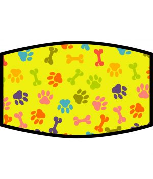 Face Mask - 3 Layer - Dog Paws and Bones Pattern - Yellow
