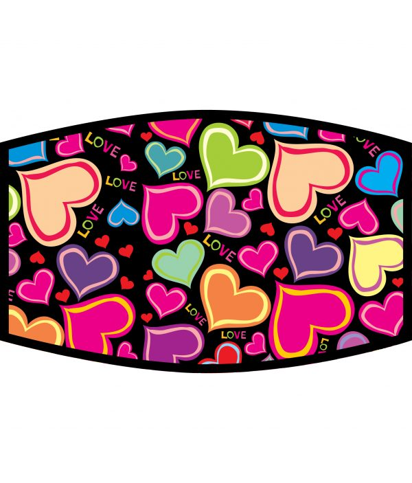 Face Mask - 3 Layer - Love Hearts - Bright