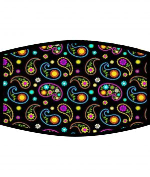Fask Mask - 3 Layer - Paisley Pattern Neon