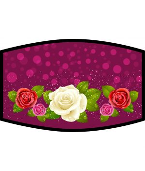 Face Mask - 3 Layer - Flowers - Red and White Roses
