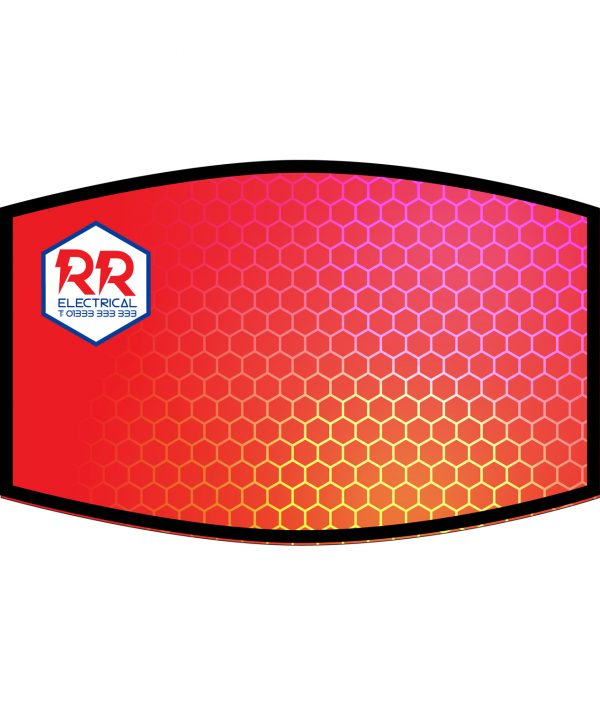 Fask Mask - 3 Layer - Hexagons Red - Add Logo