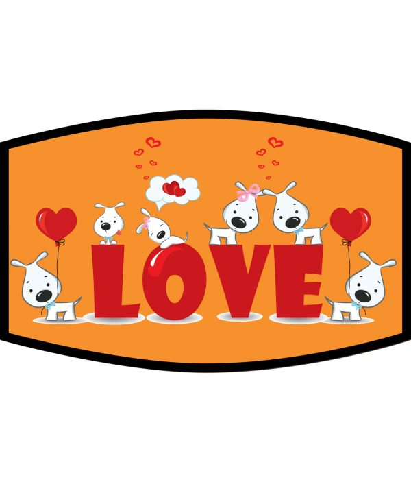 Face Mask - 3 Layer - Dog Love and Hearts - Orange