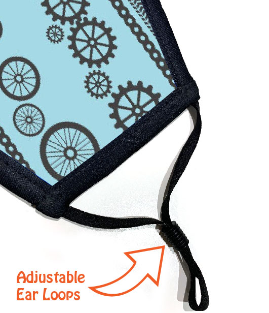 Face Mask - Cycling Wheels and Gears - Ear Loops