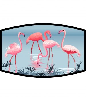Face Mask - 3 Layer -Flamingos at the Lake