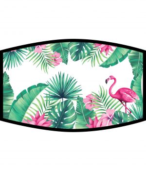Face Mask - 3 Layer -Flamingos and Leaves