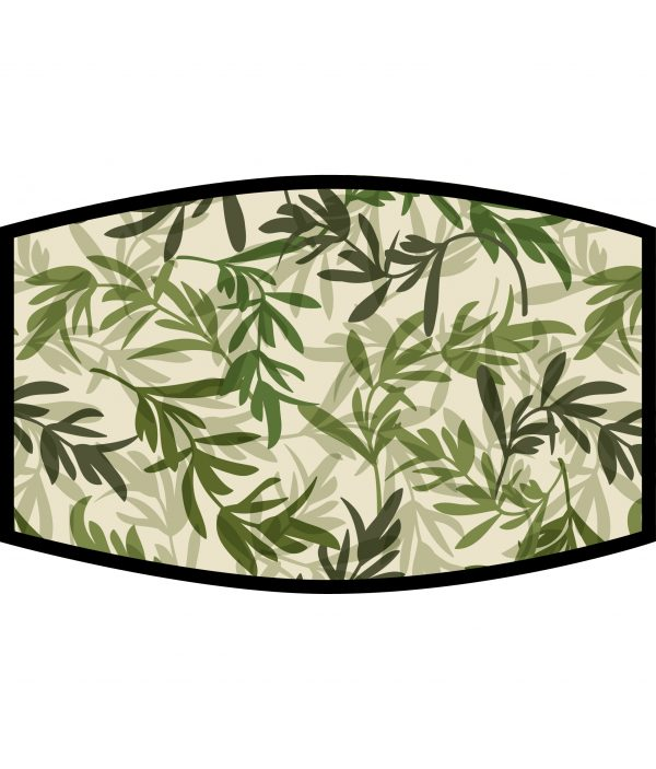 Face Mask - 3 Layer - Green Leaves Pattern