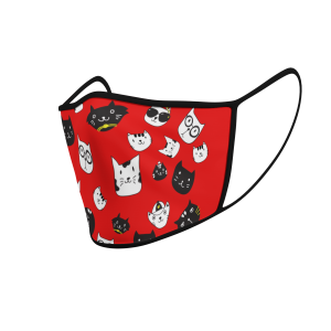 Face Mask - Cat Icons - Red - Product 3D