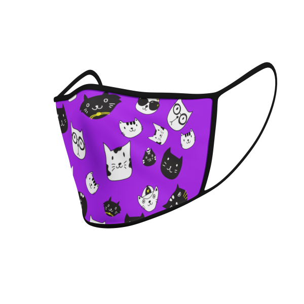 Face Mask - Cat Icons - Purple - Product 3D