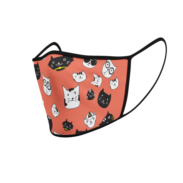 Face Mask - Cat Icons - Orange - Product 3D