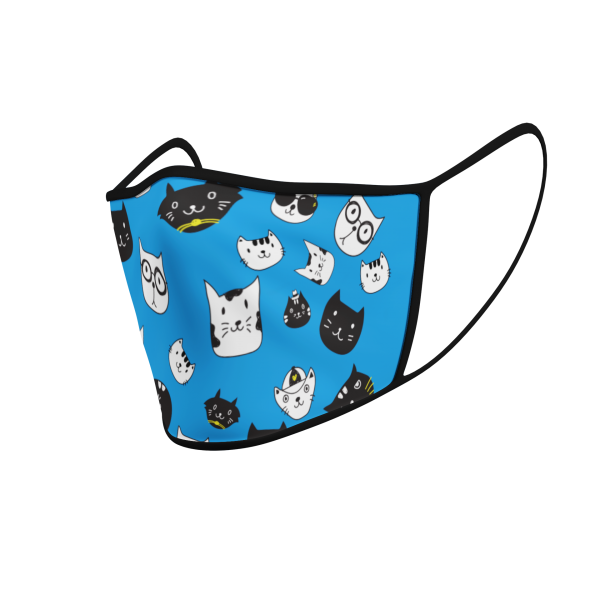 Face Mask - Cat Icons - Blue - Product 3D