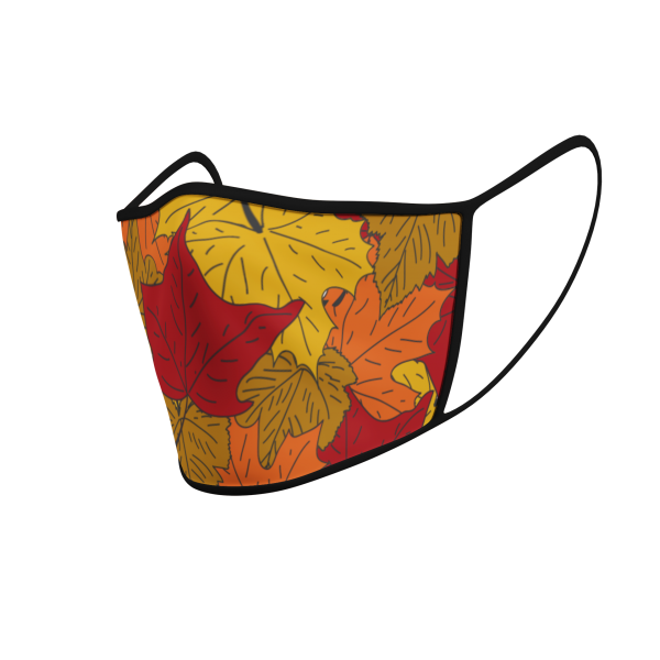 Face Mask - 3 Layer - Autumn Leaves - Ear Loops - 3D