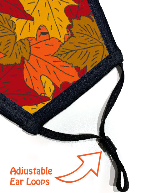 Face Mask - 3 Layer - Autumn Leaves - Ear Loops