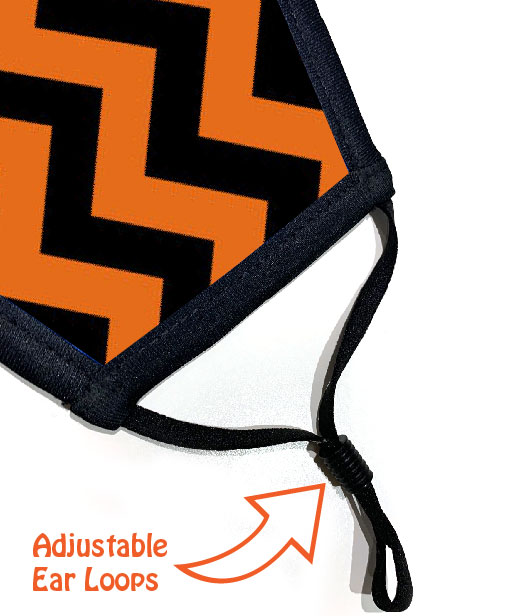 Face Mask - 3 Layer - ZigZag Orange And Black - Ear Loops