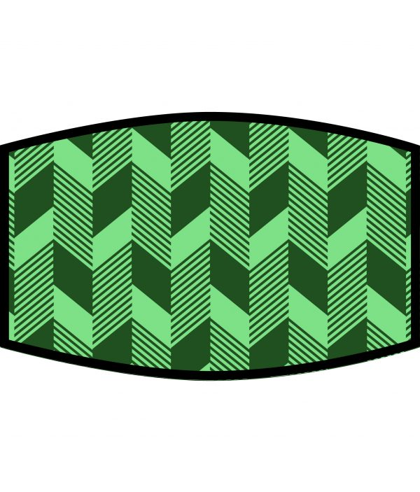 Face Mask - 3 Layer - Green Geometric
