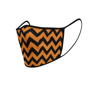 Face Mask - 3 Layer - ZigZag Orange And Black - 3D